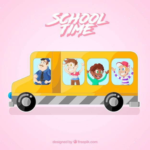 Fundo de ônibus escolar com crianças Vetor grátis