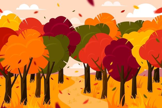 Fundo de outono com árvores Vetor grátis