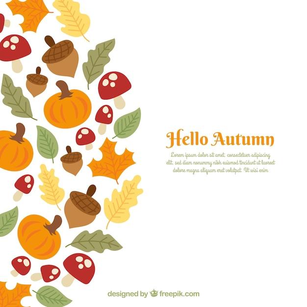 Fundo de outono com elementos Vetor grátis