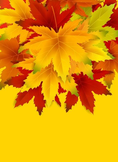 Fundo de outono com espaço de cópia, com um monte de folhas caindo Vetor Premium