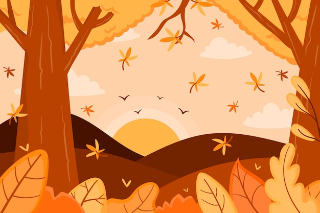 Fundo de outono com floresta e árvores Vetor grátis