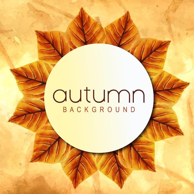 Fundo de outono com folhas de laranja, amarelo e verde de aquarela Vetor grátis