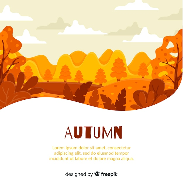 Fundo de outono design plano com folhas Vetor grátis