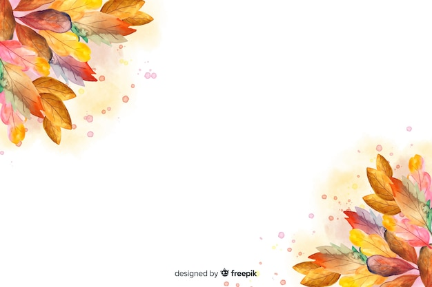 Fundo de outono em aquarela com folhas Vetor grátis