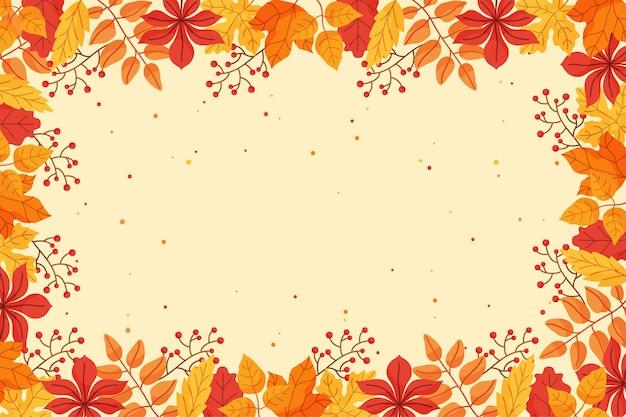 Fundo de outono em design plano Vetor Premium