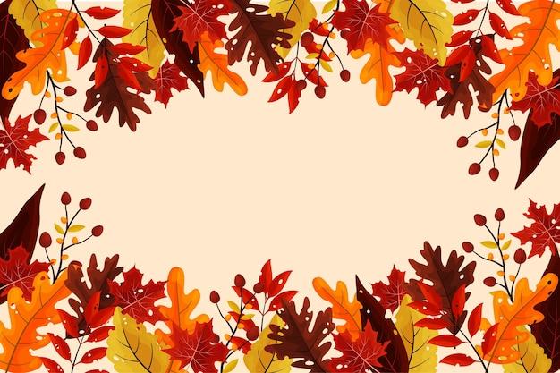Fundo de outono em design plano Vetor grátis
