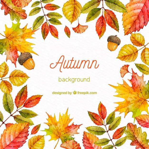Fundo de outono em estilo aquarela Vetor grátis