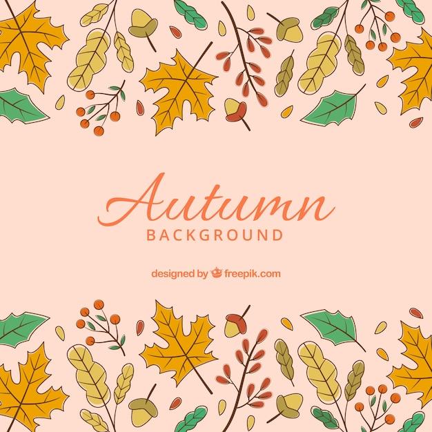 Fundo de outono mão desenhada com estilo colorido Vetor grátis
