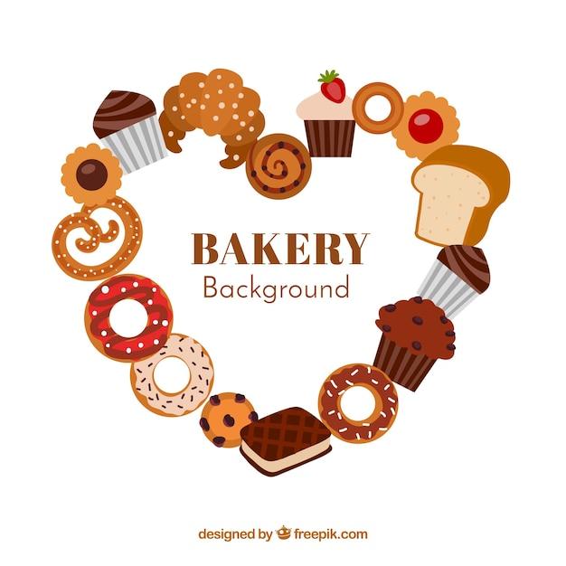 Fundo de padaria com doces em estilo plano Vetor grátis
