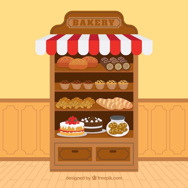 Fundo de padaria com sobremesas em estilo plano Vetor grátis