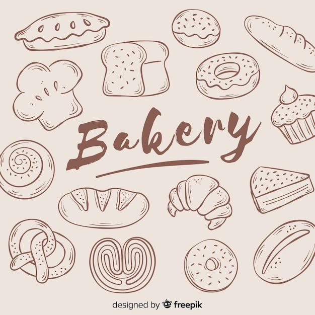 Fundo de padaria desenhada de mão Vetor grátis