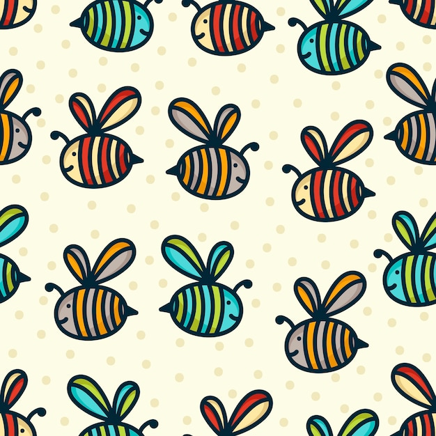 Fundo de padrão de abelha doodle Vetor Premium