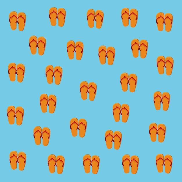 Fundo de padrão de flip-flops de verão Vetor grátis