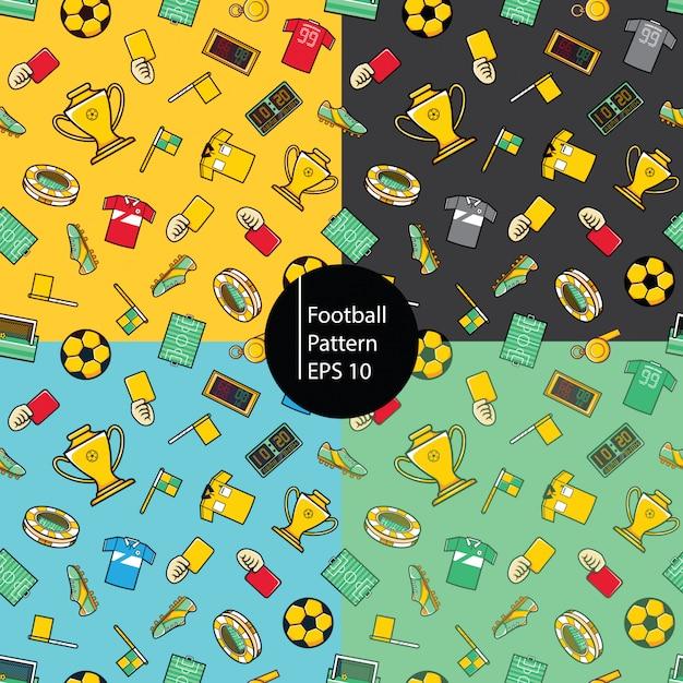Fundo de padrão de futebol Vetor Premium