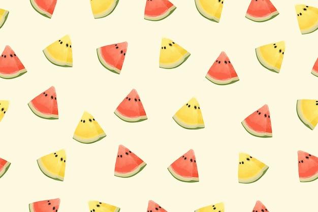 Fundo de padrão de melancia fresco. Vetor Premium