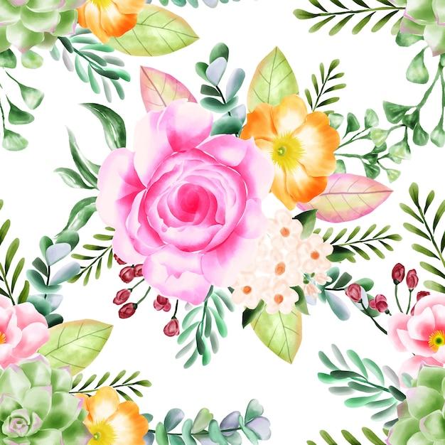 Fundo de padrão floral sem emenda de beleza Vetor Premium