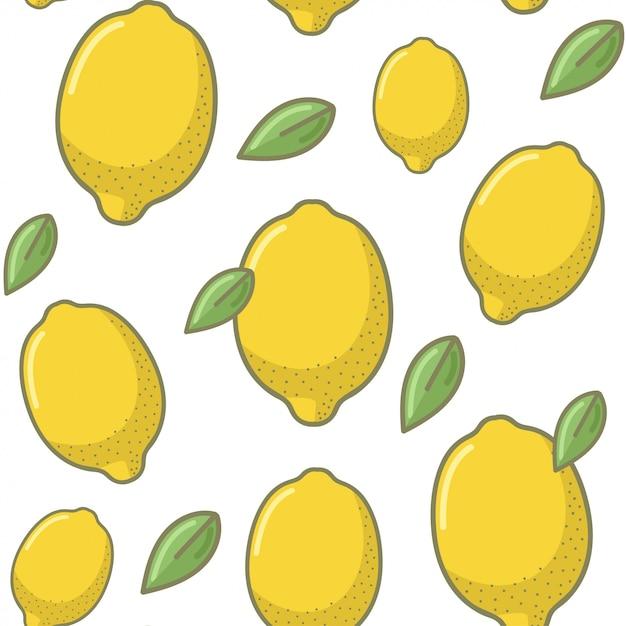 Fundo de padrão sem emenda de fruta limão Vetor Premium