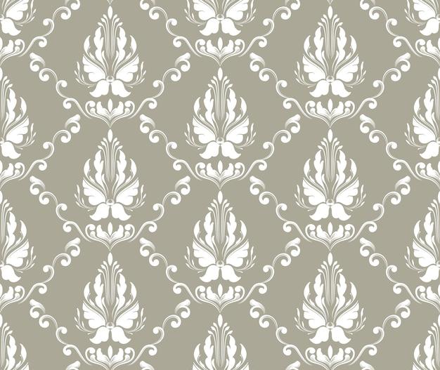 Fundo de padrão sem emenda do vetor do damasco. ornamento de damasco à moda antiga de luxo clássico, textura perfeita real victorian para papéis de parede, têxteis, envolvimento. modelo barroco floral requintado. Vetor grátis
