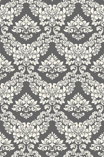 Fundo de padrão sem emenda do vetor do damasco. ornamento de damasco à moda antiga de luxo clássico, textura perfeita real victorian para papéis de parede, têxteis, envolvimento. Vetor grátis