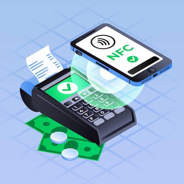Fundo de pagamento nfc smartphone, estilo isométrico Vetor Premium