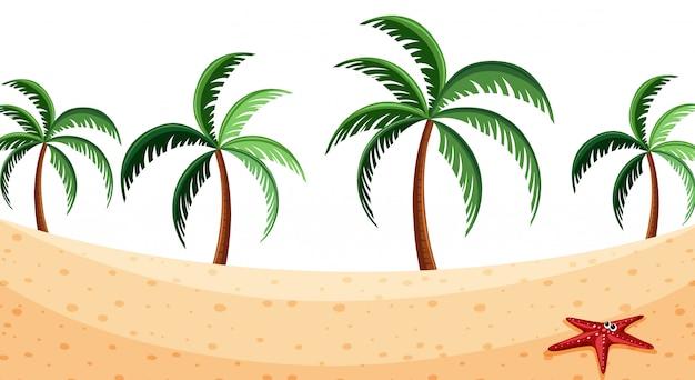 Fundo de paisagem com coqueiros na praia Vetor Premium
