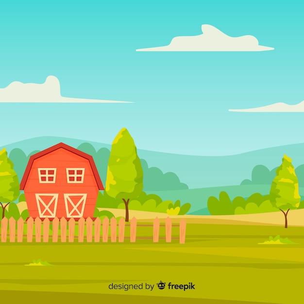Fundo de paisagem de fazenda de estilo dos desenhos animados Vetor grátis