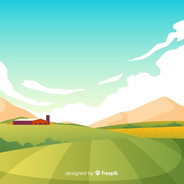 Fundo de paisagem de fazenda design plano Vetor Premium
