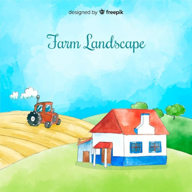 Fundo de paisagem de fazenda em aquarela Vetor grátis