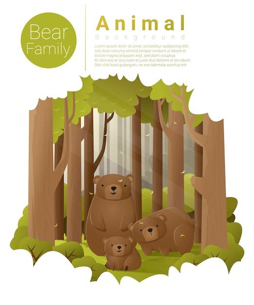 Fundo de paisagem de floresta com ursos Vetor Premium