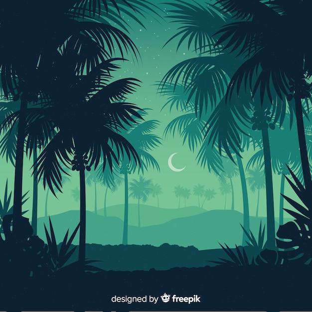 Fundo de paisagem de floresta tropical Vetor Premium