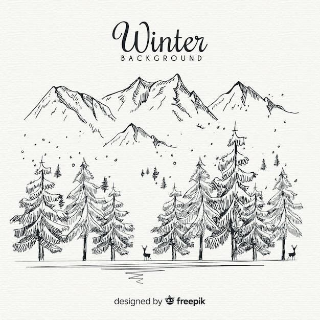 Fundo de paisagem de inverno desenhada de mão Vetor grátis
