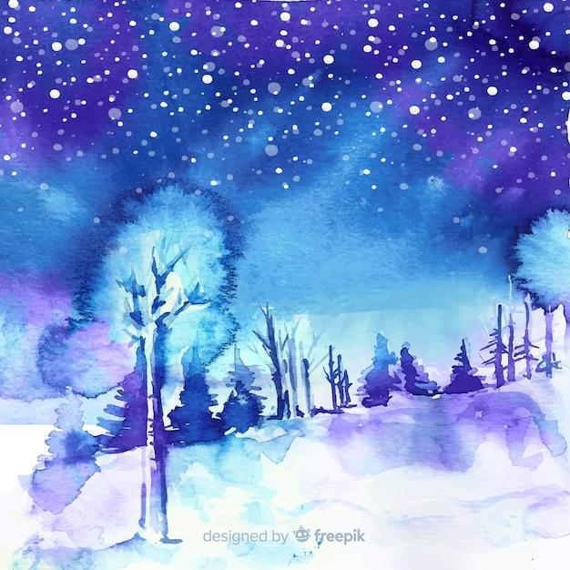 Fundo de paisagem de inverno em aquarela Vetor grátis