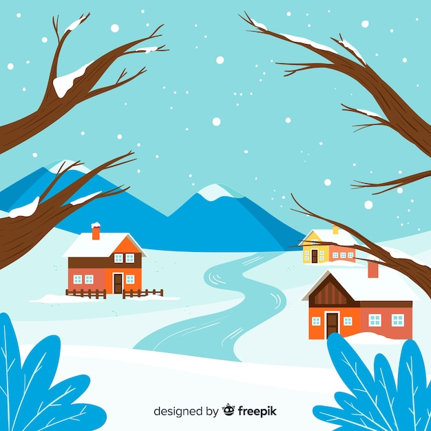 Fundo de paisagem de inverno plana Vetor grátis