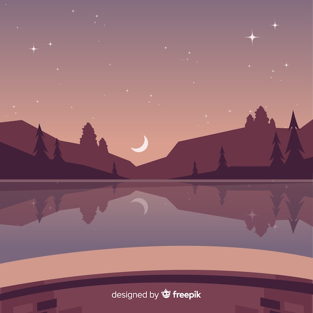 Fundo de paisagem de montanhas de noite estrelada Vetor grátis