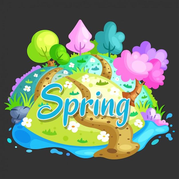 Fundo de paisagem de primavera Vetor Premium