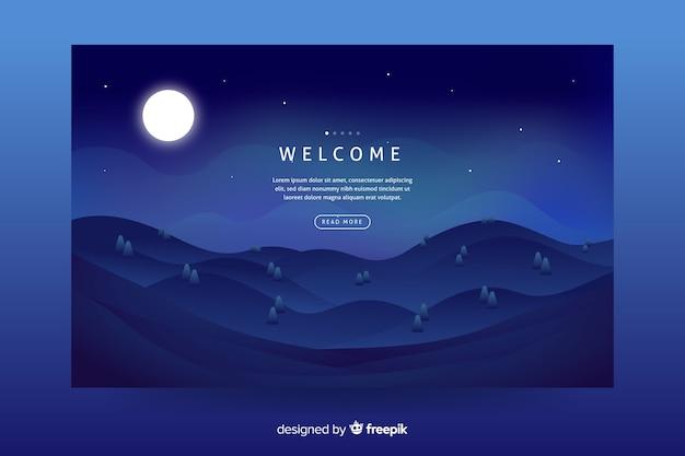Fundo de paisagem gradiente azul escuro para página de destino Vetor grátis