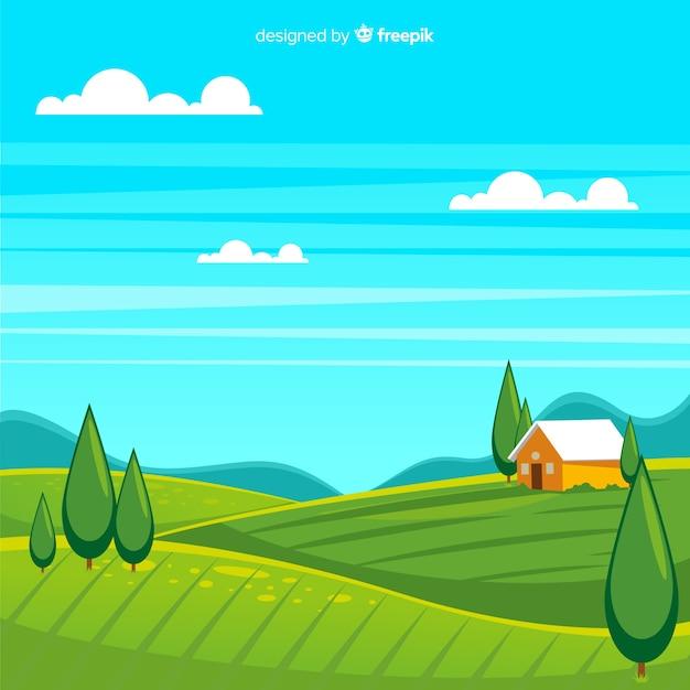 Fundo de paisagem plana fazenda Vetor grátis