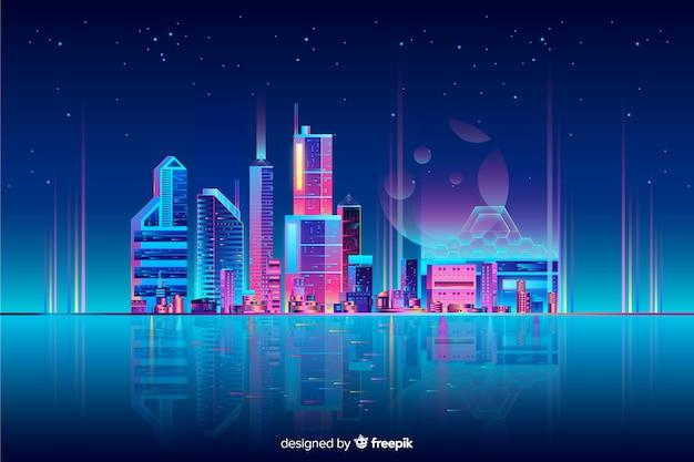 Fundo de paisagem urbana de néon Vetor grátis