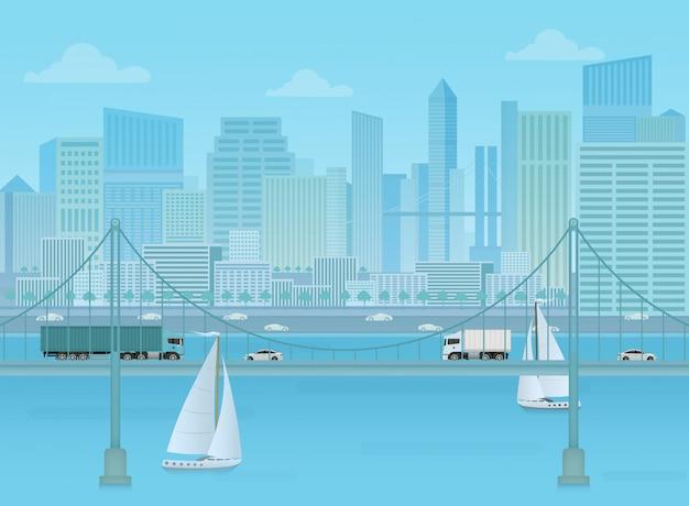 Fundo de paisagem urbana de ponte incrível. Vetor Premium