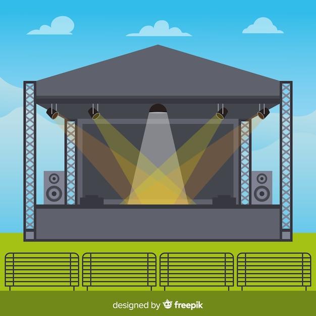Fundo de palco ao ar livre com iluminação em design plano Vetor grátis