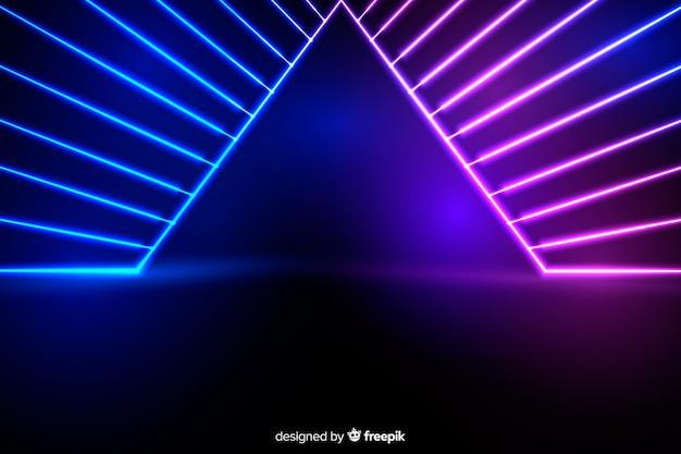 Fundo de palco com luzes de neon Vetor grátis