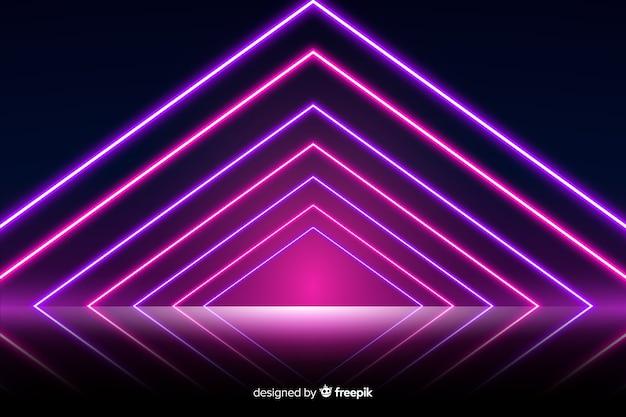 Fundo de palco de luzes de néon Vetor grátis