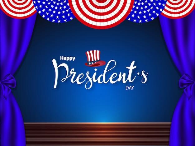 Fundo de palco presidencial eua para feliz dia do presidente Vetor Premium