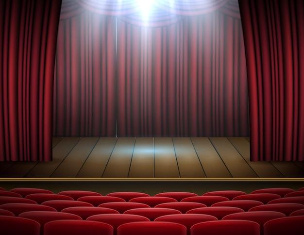 Fundo de palco, teatro ou ópera de cortinas vermelhas premium com holofotes Vetor Premium