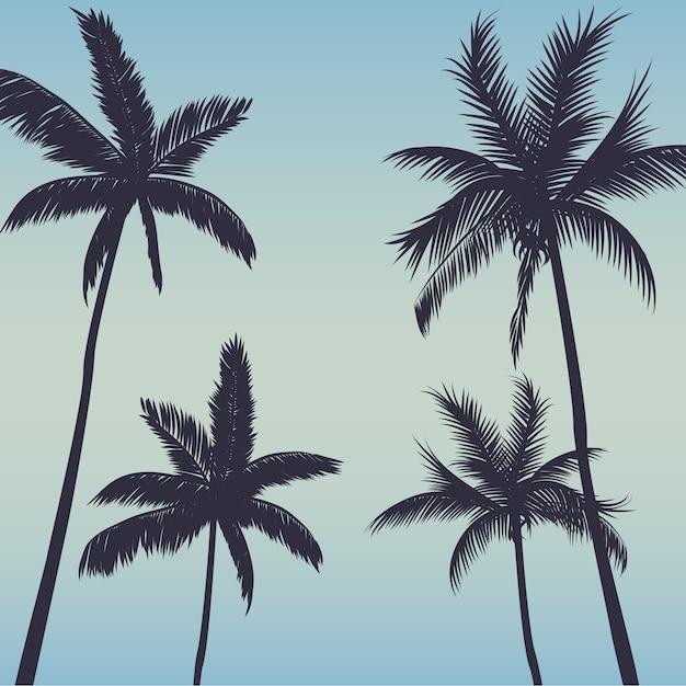 Fundo de palmeiras de silhueta Vetor Premium