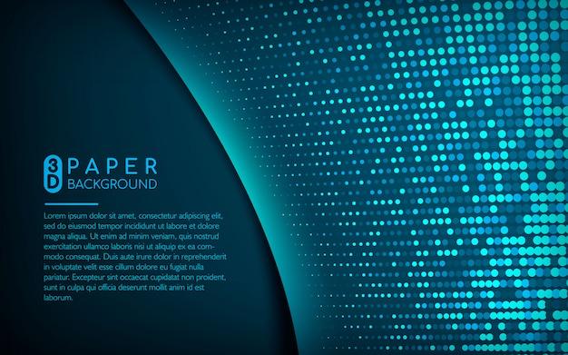 Fundo de papel 3d azul escuro com brilhos Vetor Premium