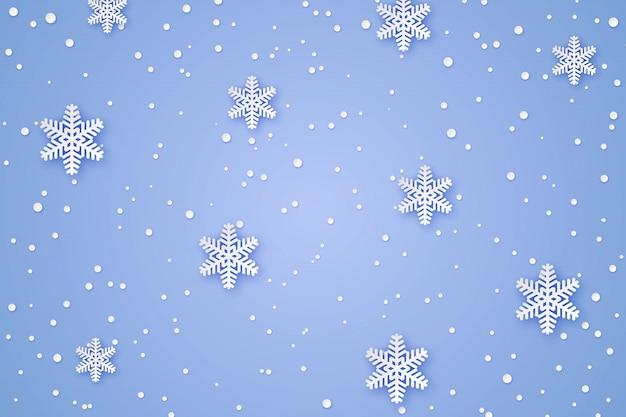Fundo de papel de inverno Vetor Premium