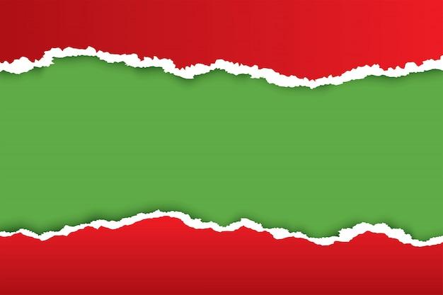 Fundo de papel rasgado vermelho de natal com cor verde Vetor Premium