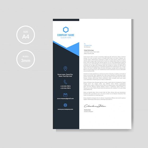 Fundo de papel timbrado azul moderno Vetor Premium