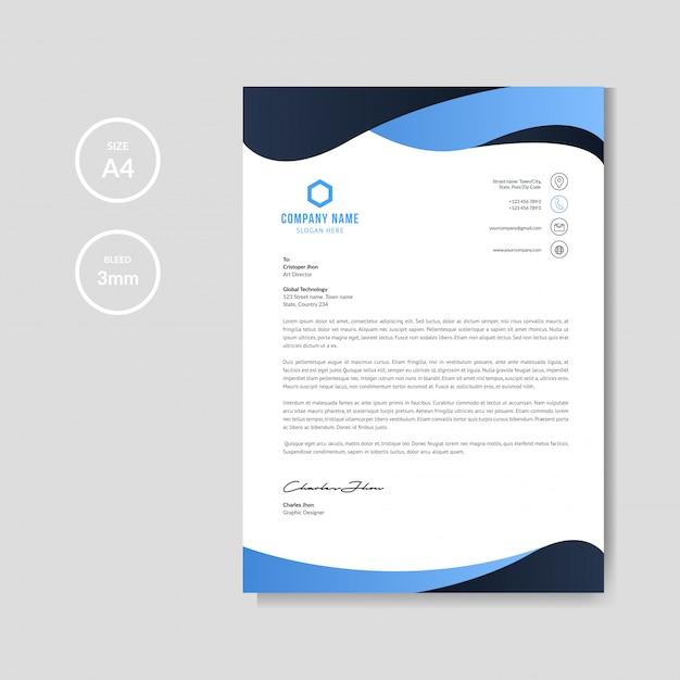Fundo de papel timbrado ondulado azul moderno Vetor Premium